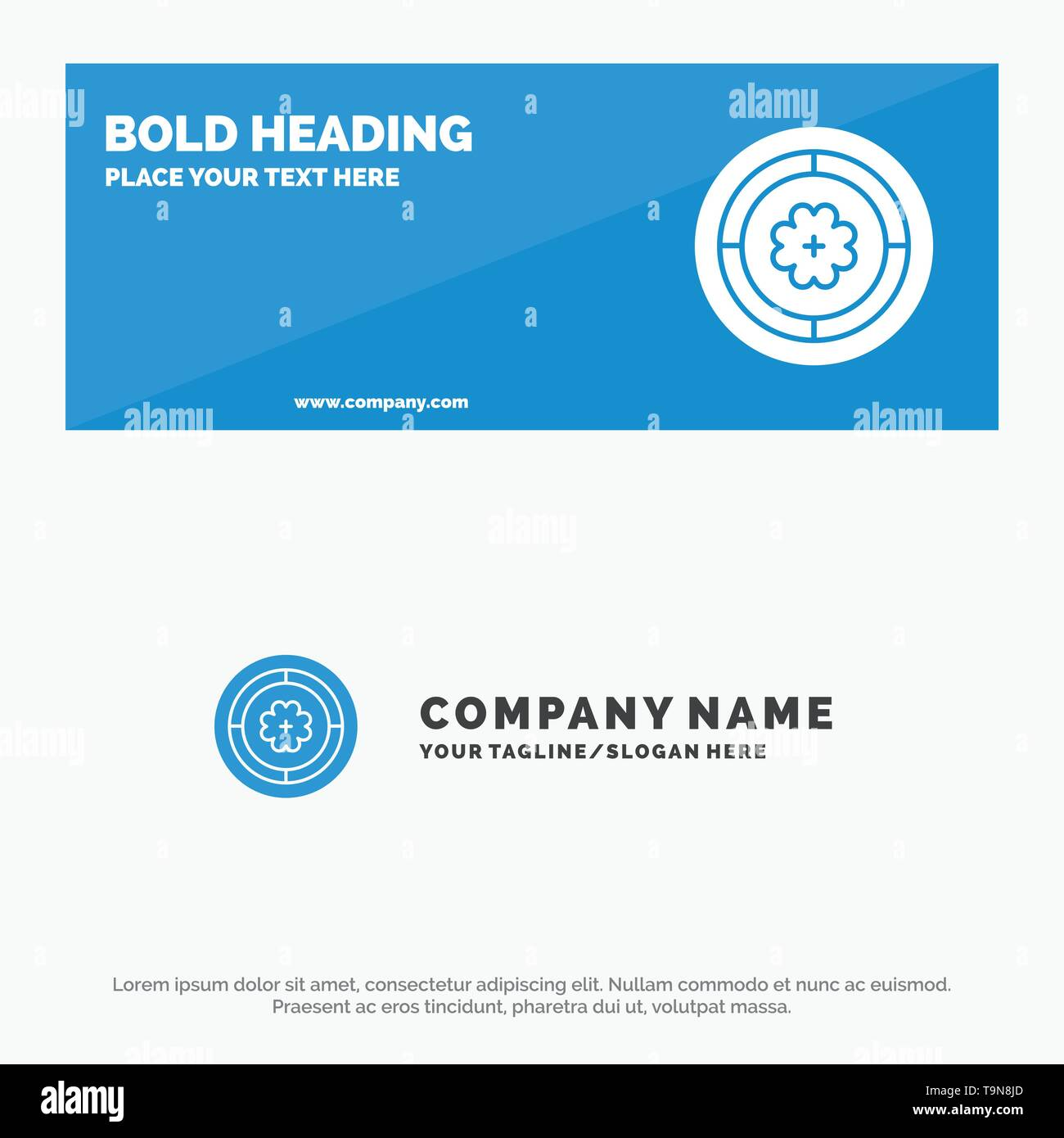 Flower, Spring, Circle, Sunflower SOlid Icon Website Banner and Business Logo Template - Stock Image