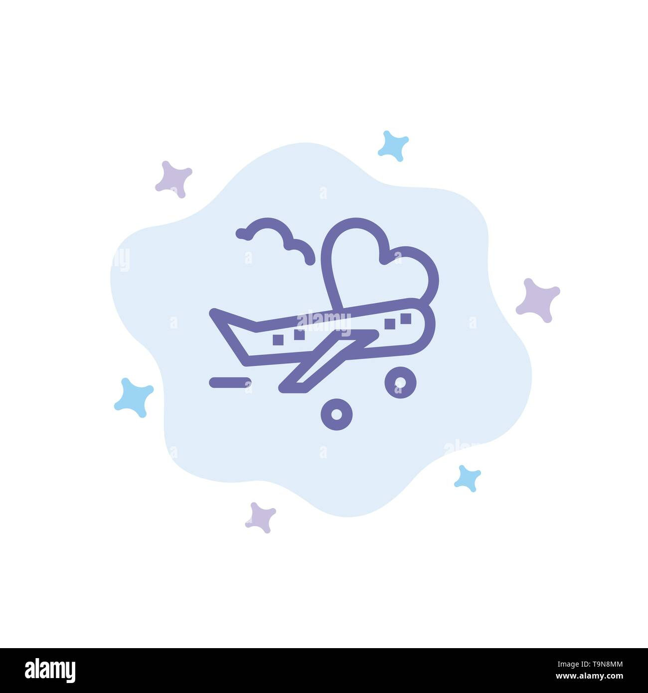 Fly, Airplane, Plane, Airport Blue Icon on Abstract Cloud Background - Stock Image