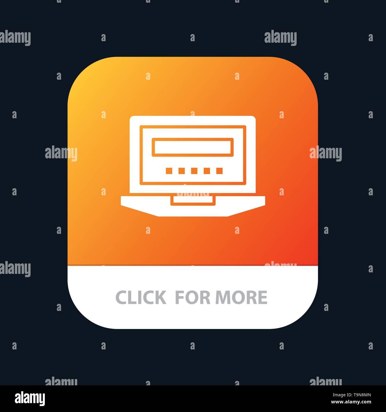 Laptop, Computer, Hardware, Education Mobile App Icon Design - Stock Image