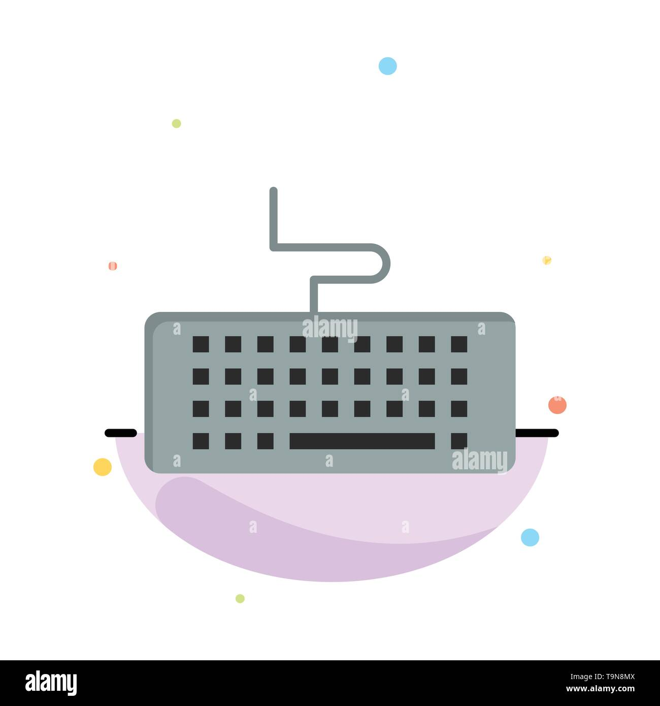 Key, Keyboard, Hardware, Education Abstract Flat Color Icon Template - Stock Image