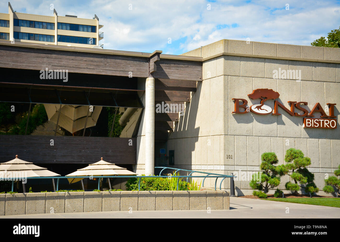 The Bonsai Bistro Specializing In Sushi In An Attractively Modern Building Design In Downtown Coeur D Alene Id Stock Photo Alamy