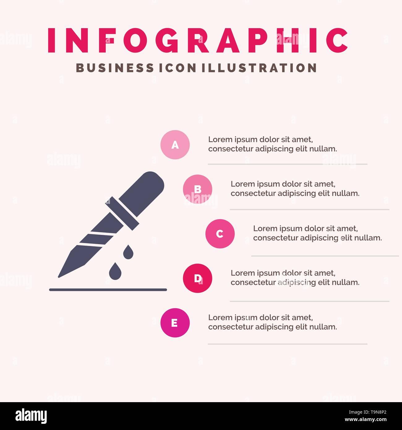 Drop, Dropper, Medical, Medicine Solid Icon Infographics 5 Steps Presentation Background - Stock Image