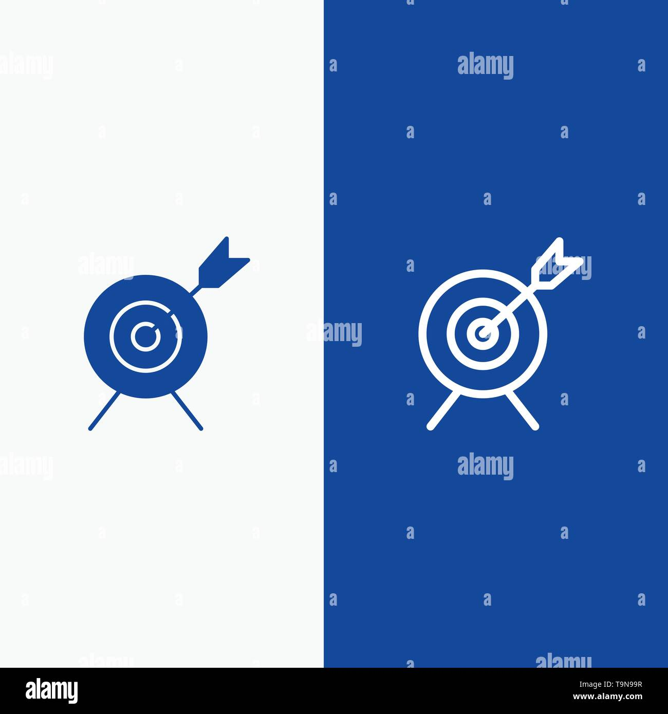 target aim goal line and glyph solid icon blue banner line and glyph solid icon blue banner stock vector image art alamy alamy