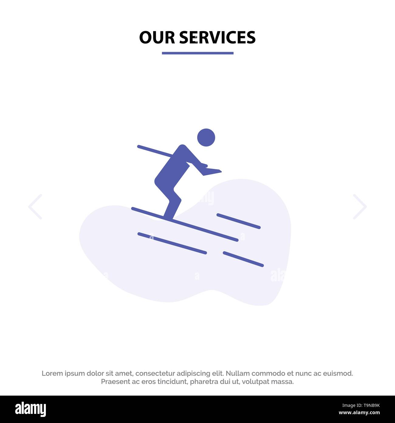 Our Services Activity, Ski, Skiing, Sportsman Solid Glyph Icon Web card Template - Stock Image