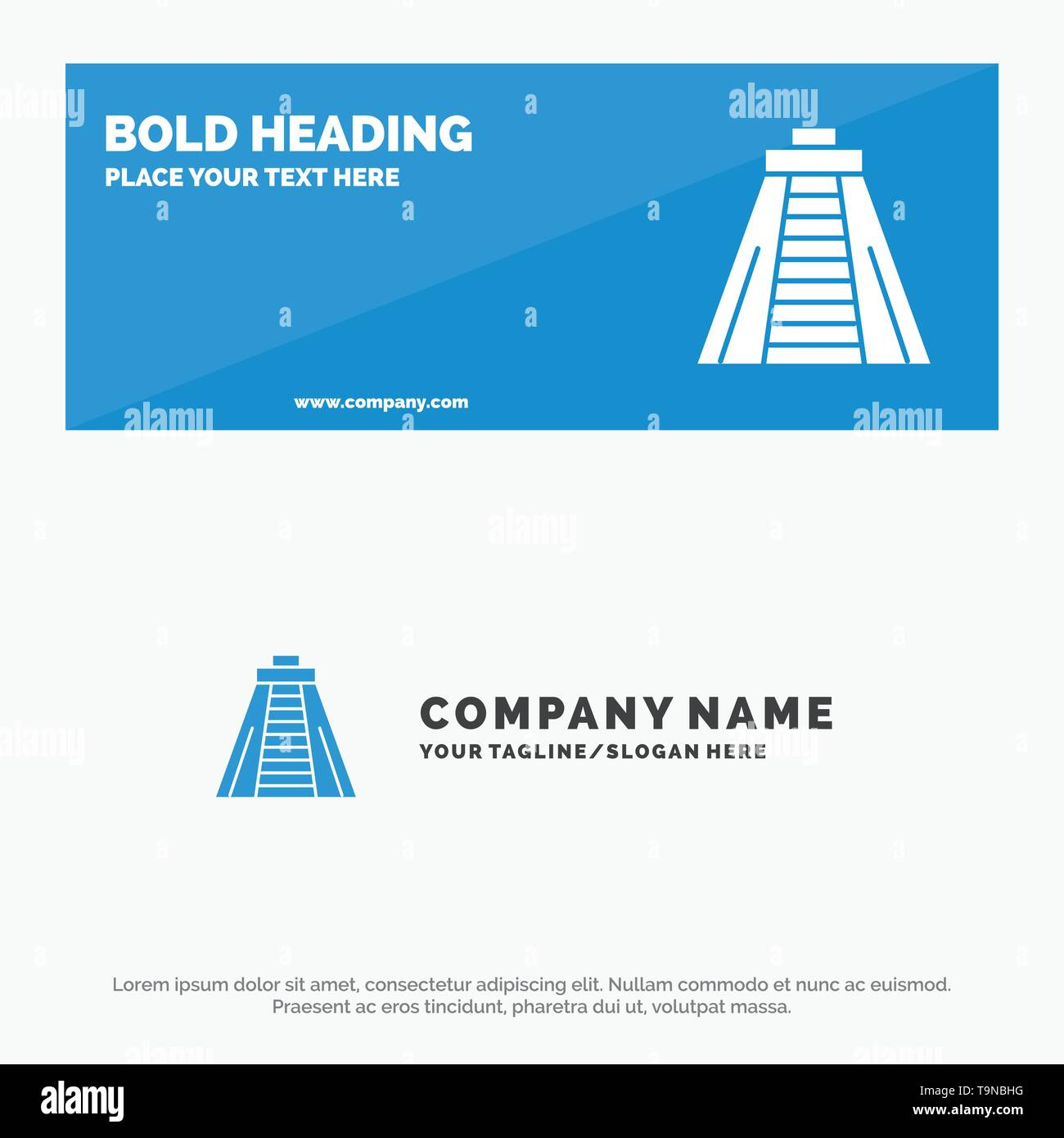 Chichen Itza, Landmark, Monument SOlid Icon Website Banner and Business Logo Template - Stock Image