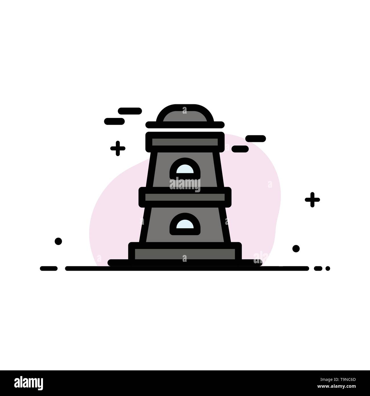 Observatory, Tower, Watchtower  Business Flat Line Filled Icon Vector Banner Template - Stock Image