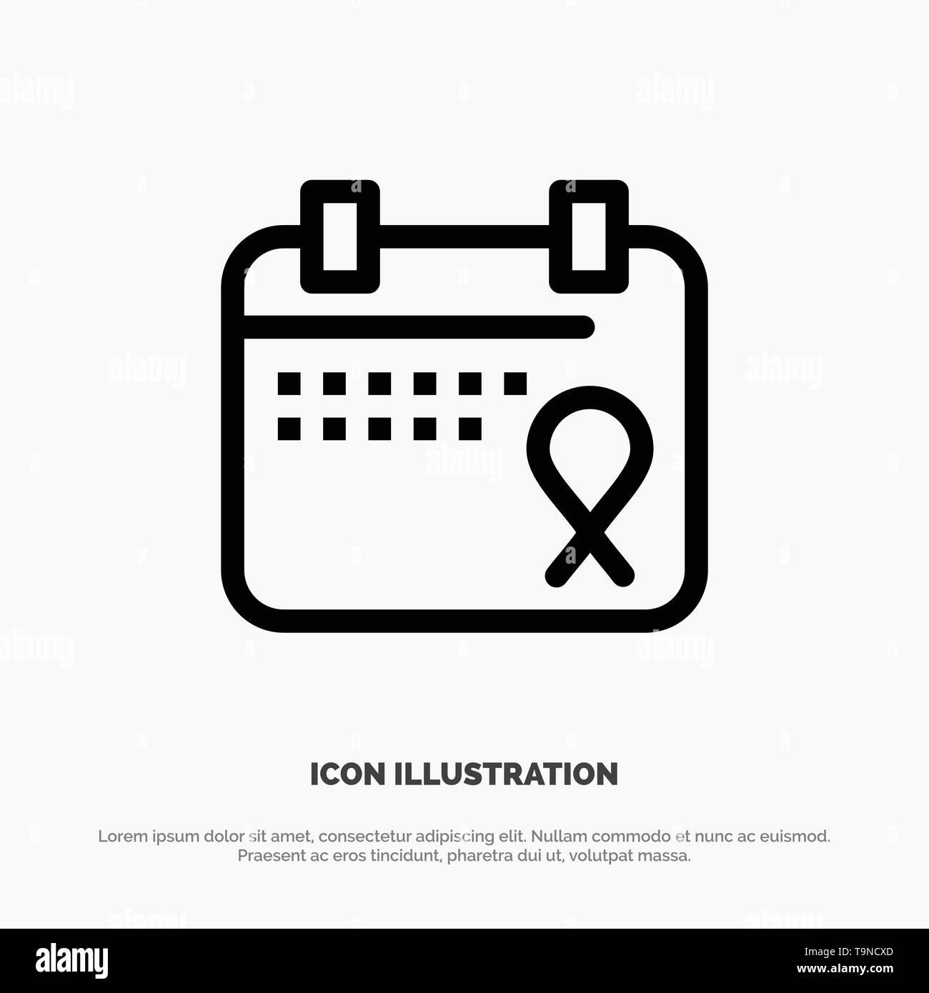 Calendar, Love, Operation, Date Vector Line Icon - Stock Image