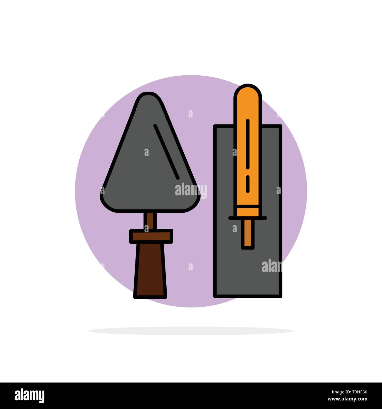 Trowel, Brickwork, Construction, Masonry, Tool Abstract Circle Background Flat color Icon - Stock Image