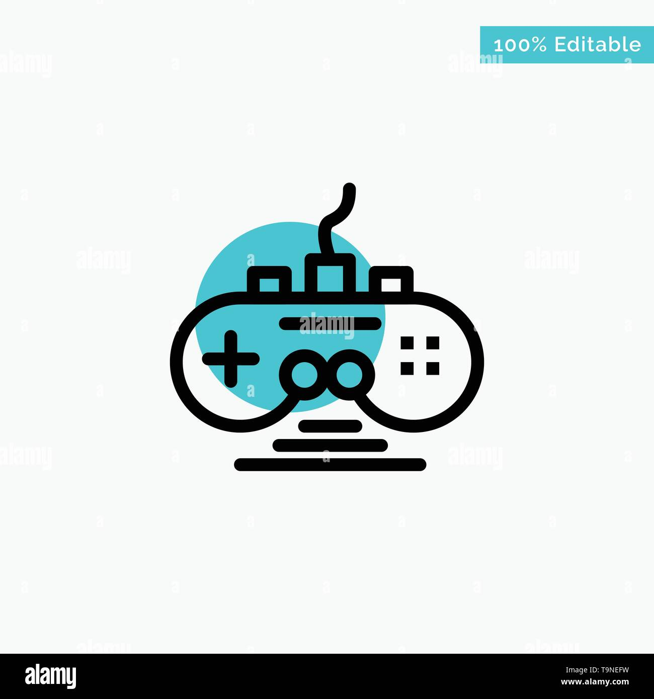 Controller, Game, Game Controller, Gamepad turquoise highlight circle point Vector icon - Stock Image