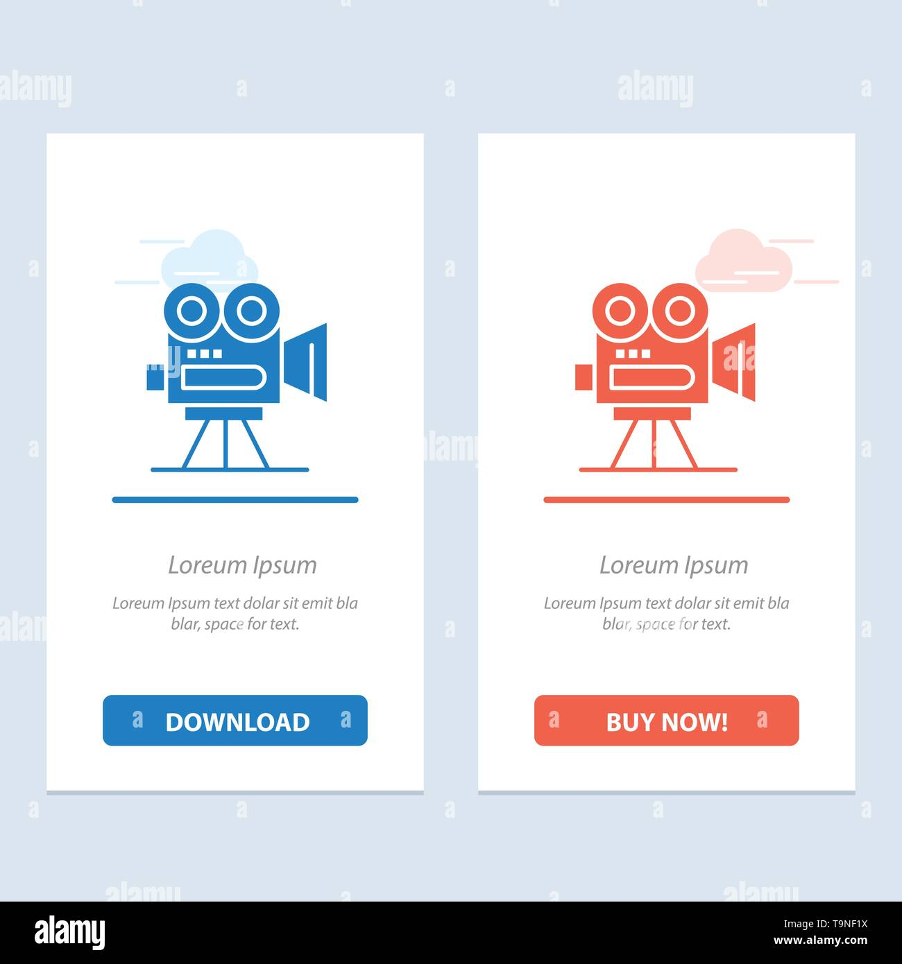 Camera, Capture, Film, Movie, Professional  Blue and Red Download and Buy Now web Widget Card Template - Stock Vector