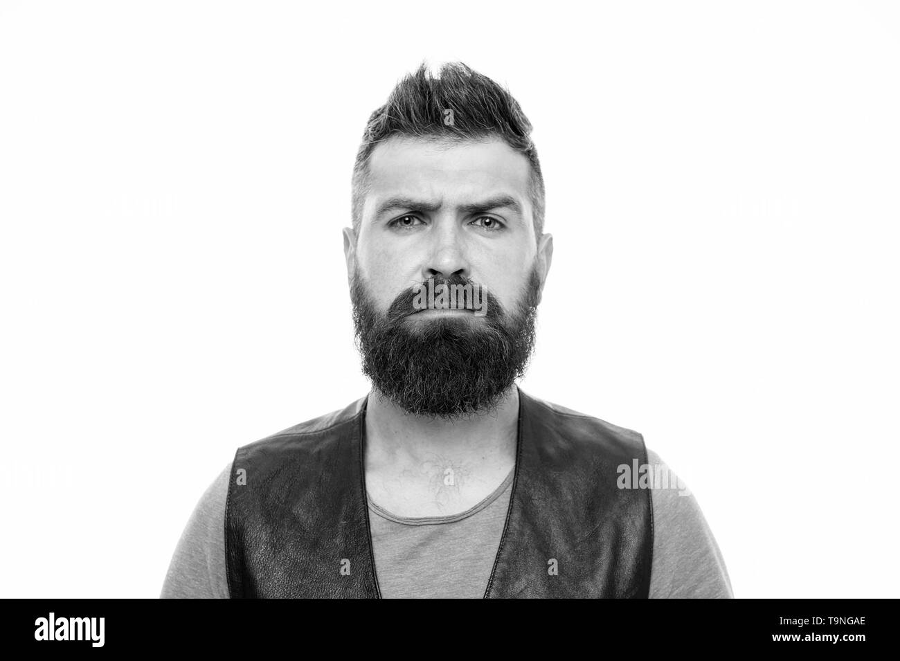 Facial hair treatment. Masculinity brutality and beauty. Hipster with beard brutal guy. Masculinity concept. Barber shop and beard grooming. Styling b - Stock Image