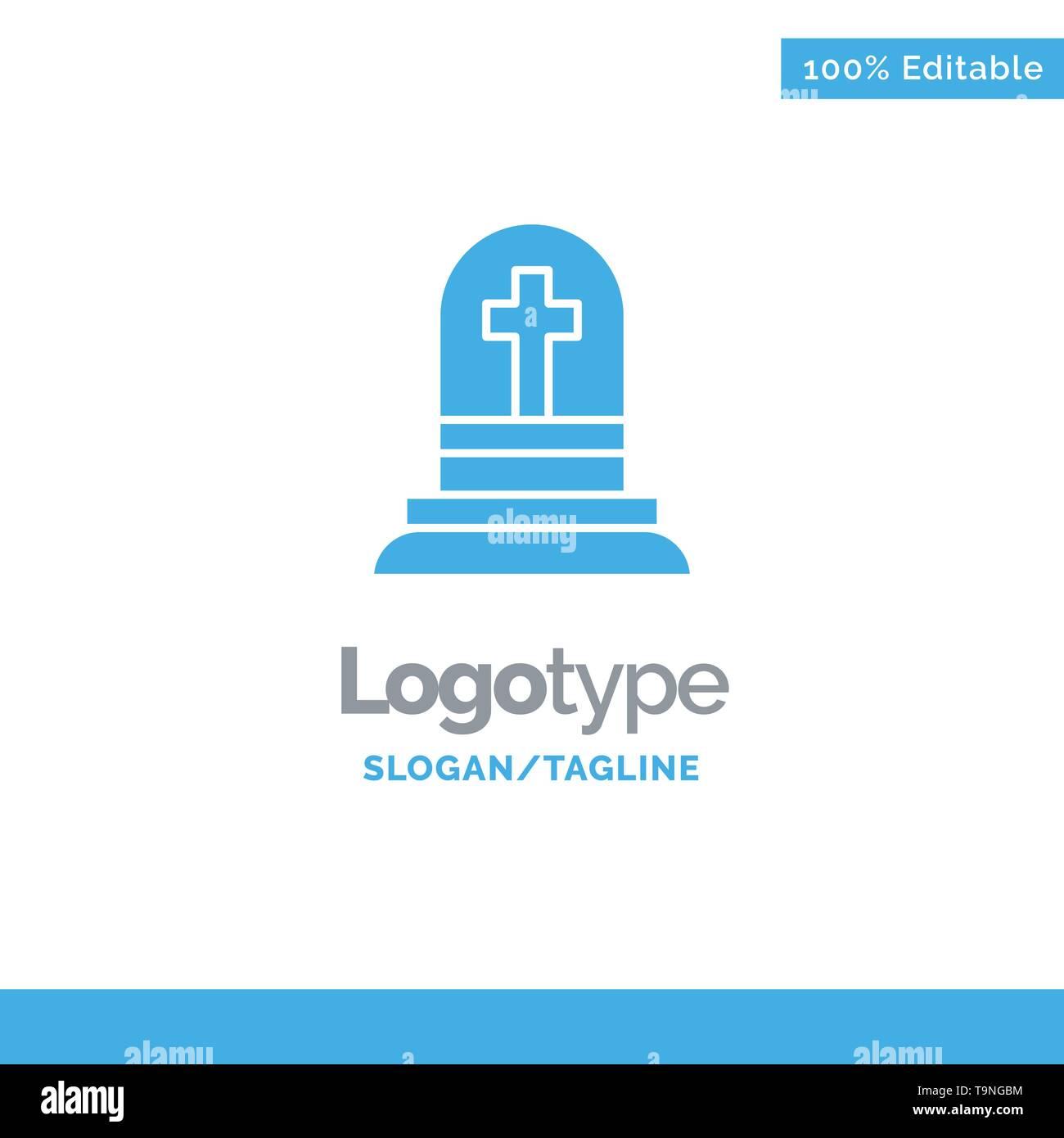 Death, Grave, Gravestone, Rip Blue Solid Logo Template. Place for Tagline - Stock Image