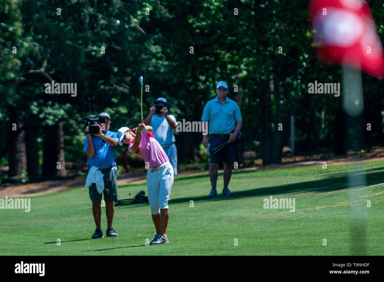 Southern Pines, North Carolina, USA. 19th May, 2019. May 19, 2019 - Southern Pines, North Carolina, US - HELEN ALFREDSSON of Sweden won the USGA's 2nd U.S. Senior Women's Open Championship at Pine Needles Lodge & Golf Club, May 19, 2019 in Southern Pines, North Carolina. Alfredsson carded a final round of 72, for a 285 total for the tournament. Credit: Timothy L. Hale/ZUMA Wire/Alamy Live News - Stock Image