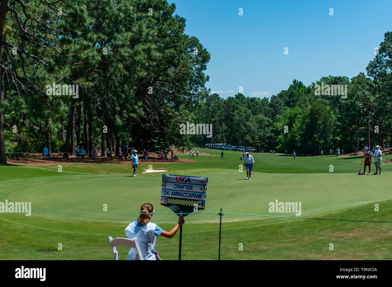 Southern Pines, North Carolina, USA. 19th May, 2019. May 19, 2019 - Southern Pines, North Carolina, US - Final round action of the USGA's 2nd U.S. Senior Women's Open Championship at Pine Needles Lodge & Golf Club, May 19, 2019 in Southern Pines, North Carolina. HELEN ALFREDSSON of Sweden won with a final round of 72, carding a 285 total for the tournament. Credit: Timothy L. Hale/ZUMA Wire/Alamy Live News - Stock Image