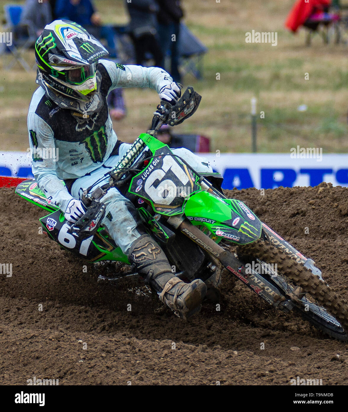 Rancho Cordova, CA U.S. 18th May, 2019. A. : # 61 Garrett Marchbanks coming out of section 20 during the Lucas Oil Pro Motocross Championship 250 class moto # 1 at Hangtown Motocross Classic Rancho Cordova, CA Thurman James/CSM/Alamy Live News - Stock Image