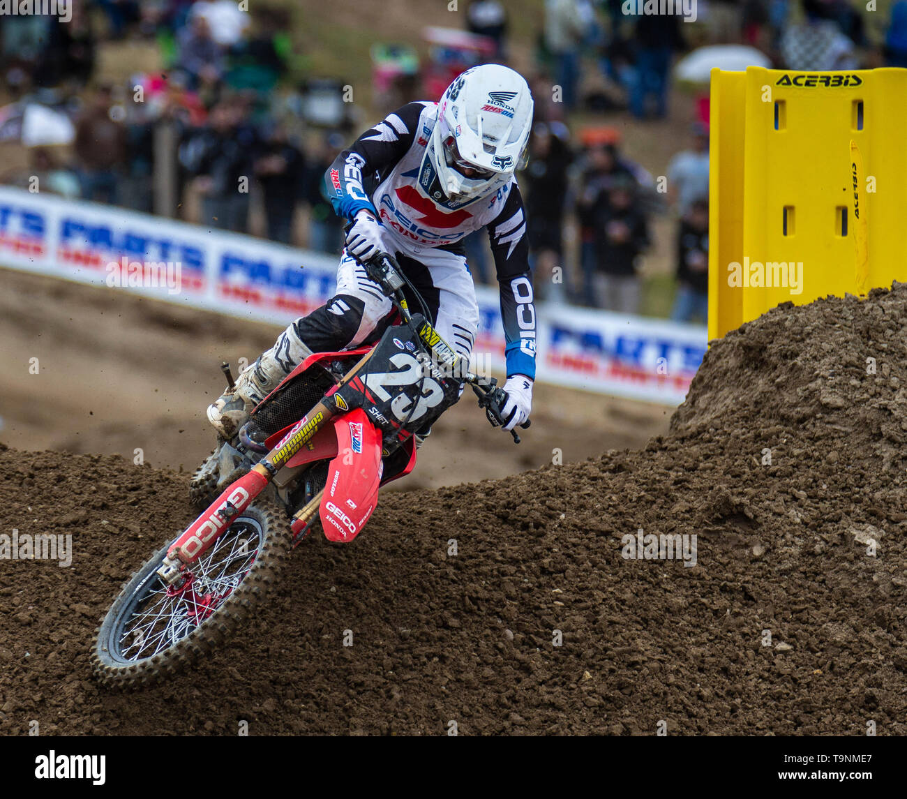 Rancho Cordova, CA U.S. 18th May, 2019. A. : # 23 Chase Sexton coming out of section 23 during the Lucas Oil Pro Motocross Championship 250 class moto # 1 at Hangtown Motocross Classic Rancho Cordova, CA Thurman James/CSM/Alamy Live News - Stock Image