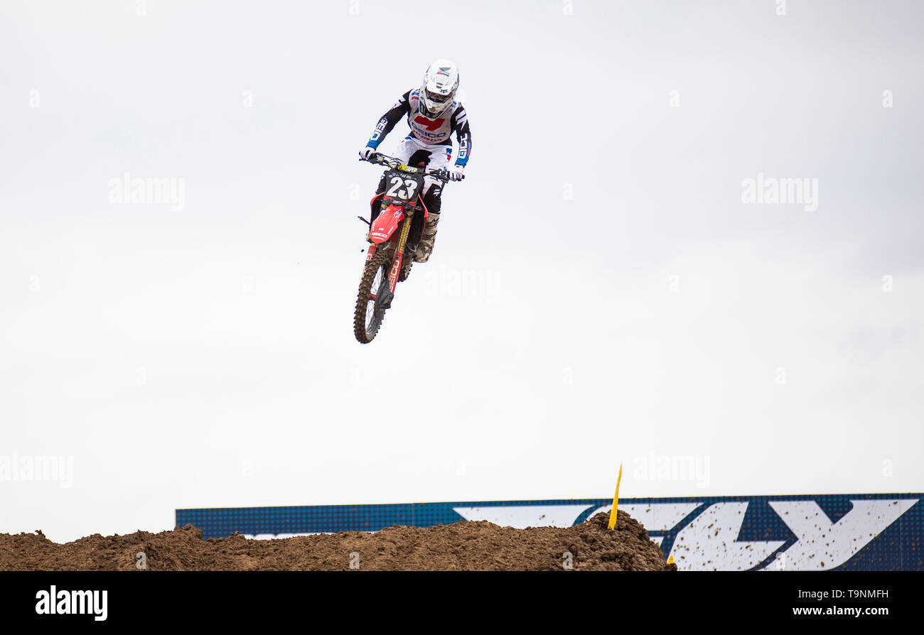 Rancho Cordova, CA U.S. 18th May, 2019. A. : # 23 Chase Sexton get big air coming into section 24 during the Lucas Oil Pro Motocross Championship 250 class moto # 1 at Hangtown Motocross Classic Rancho Cordova, CA Thurman James/CSM/Alamy Live News - Stock Image