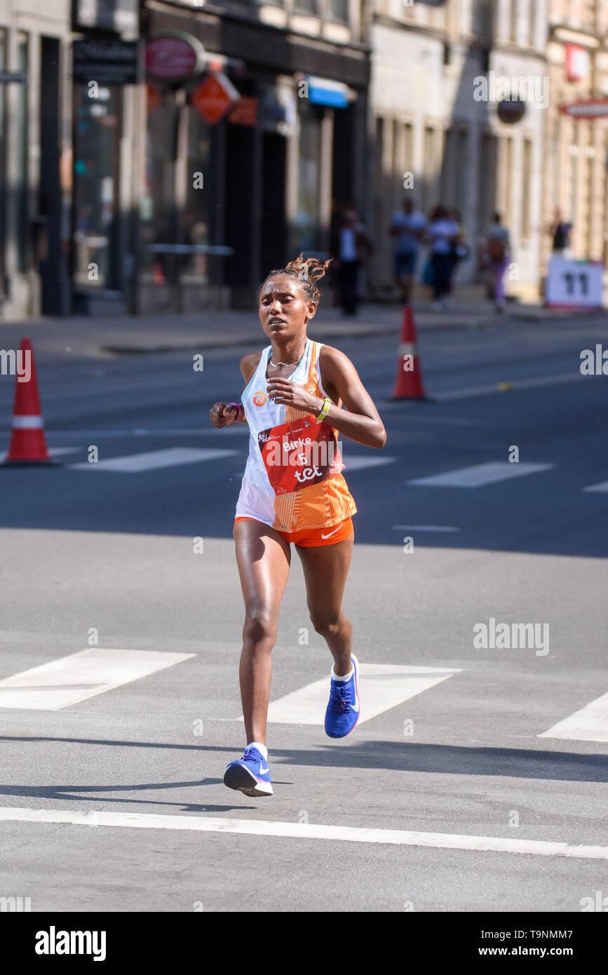 19.05.2019. RIGA, LATVIA. Birke Debele Beyene, during  TET RIGA MARATHON 2019. The only IAAF Gold Label marathon in Northern Europe. - Stock Image