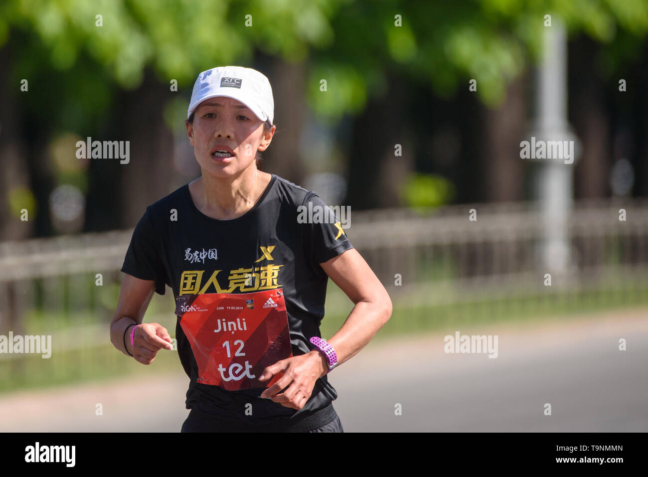 19.05.2019. RIGA, LATVIA. Yinli He, during  TET RIGA MARATHON 2019. The only IAAF Gold Label marathon in Northern Europe. Stock Photo