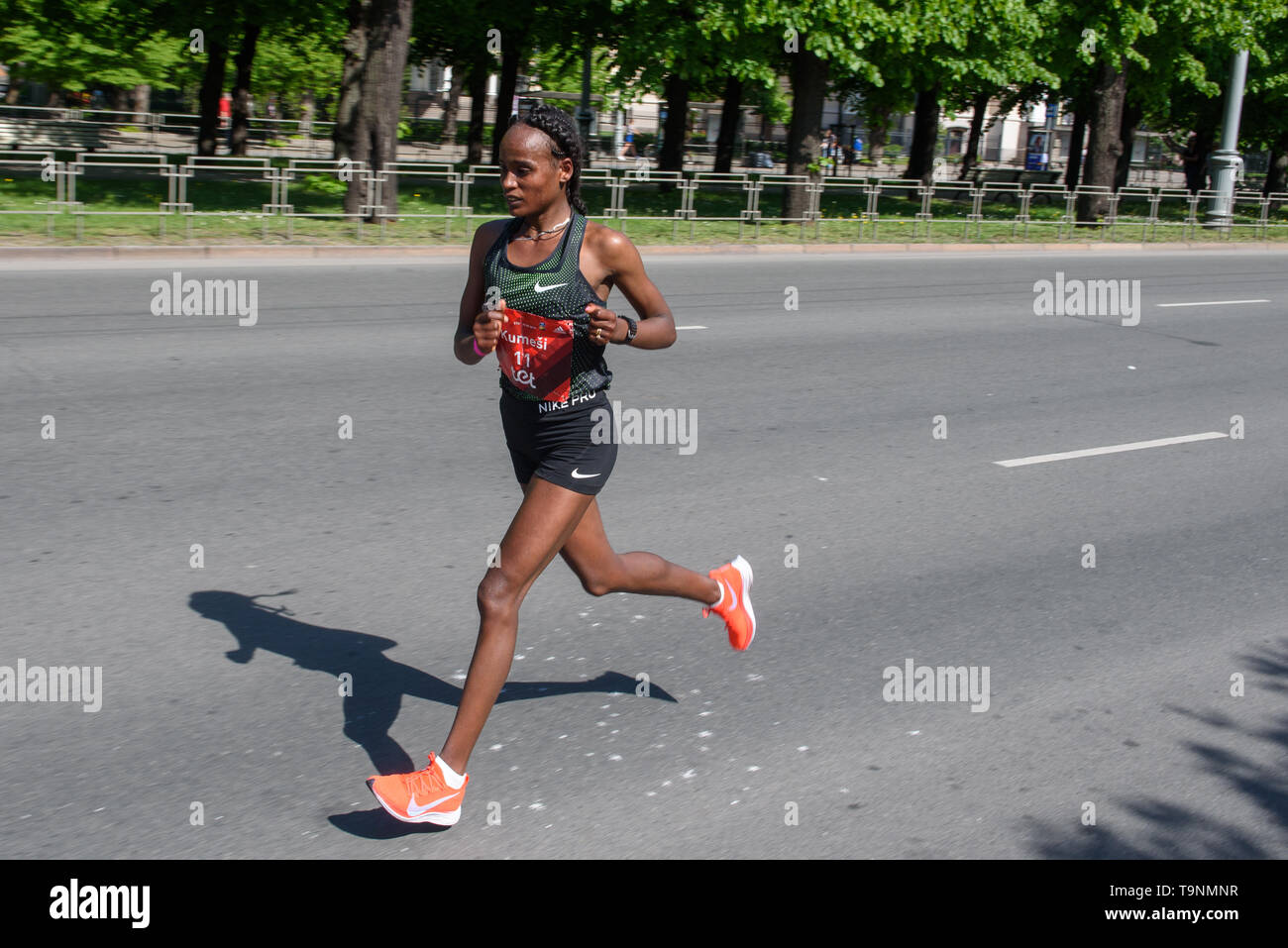 19.05.2019. RIGA, LATVIA. Kumeshi Sichala Deressa, during  TET RIGA MARATHON 2019. The only IAAF Gold Label marathon in Northern Europe. - Stock Image
