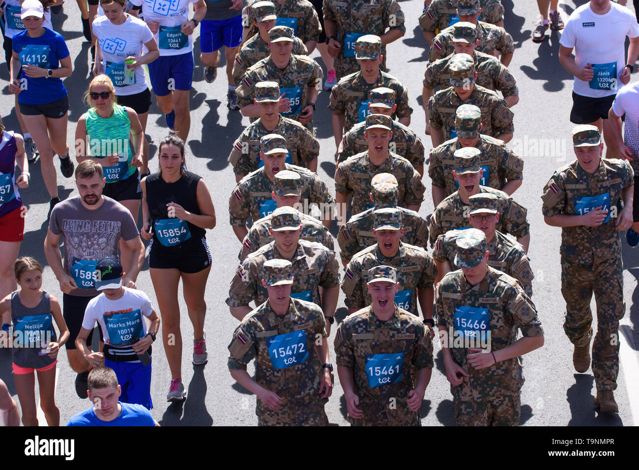 19.05.2019. RIGA, LATVIA. Latvian army soldiers compete at  TET RIGA MARATHON 2019. The only IAAF Gold Label marathon in Northern Europe. Stock Photo