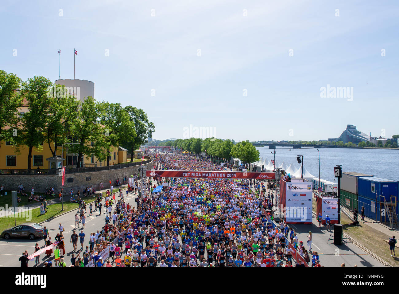 19.05.2019. RIGA, LATVIA. Crowd with people at start zone, during  TET RIGA MARATHON 2019. The only IAAF Gold Label marathon in Northern Europe. Stock Photo