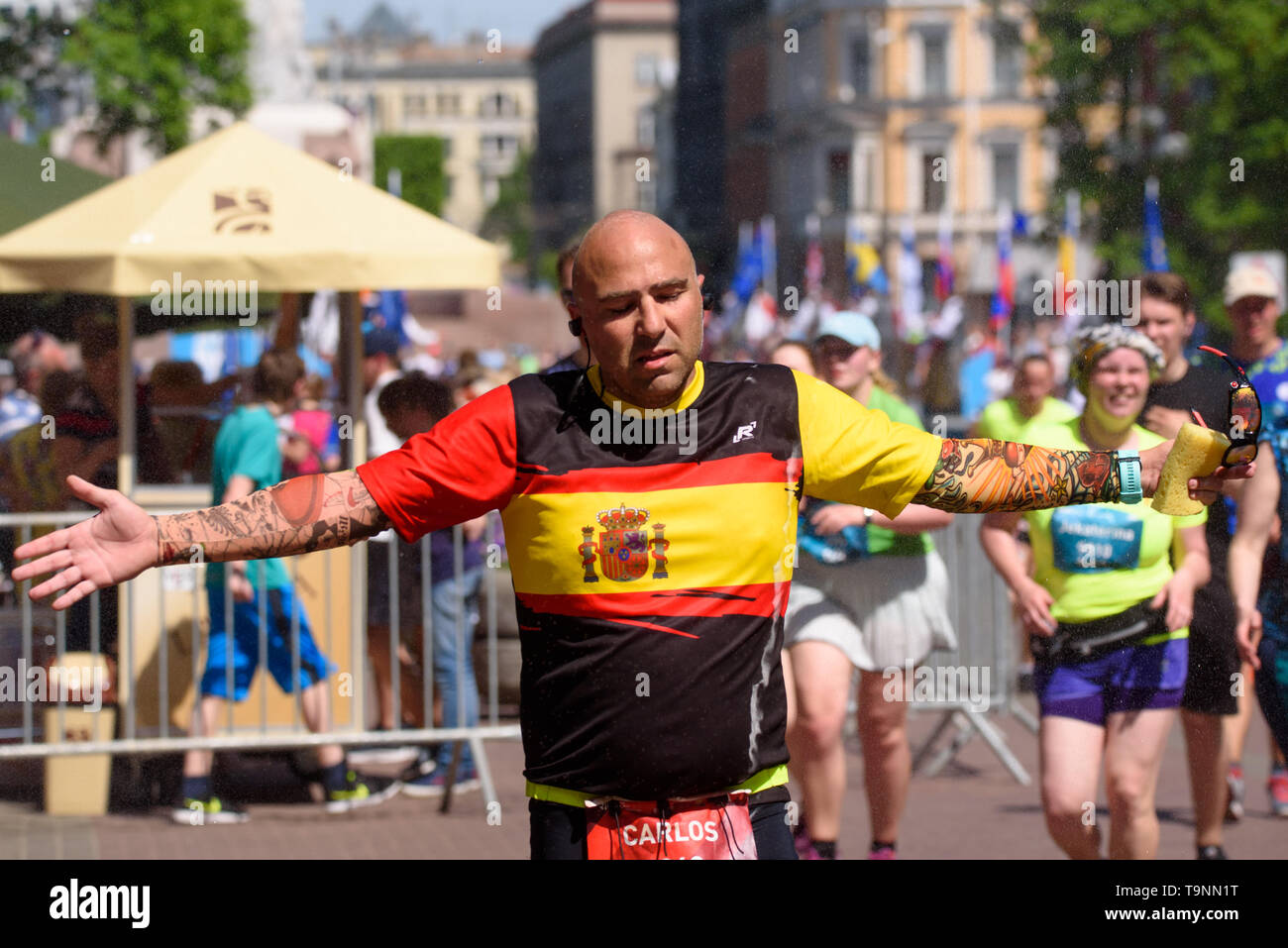 RIGA, Latvia. 19th May, 2019. Runner from Spain competing at TET RIGA MARATHON 2019. The only IAAF Gold Label marathon in Northern Europe. Credit: Gints Ivuskans/Alamy Live News - Stock Image