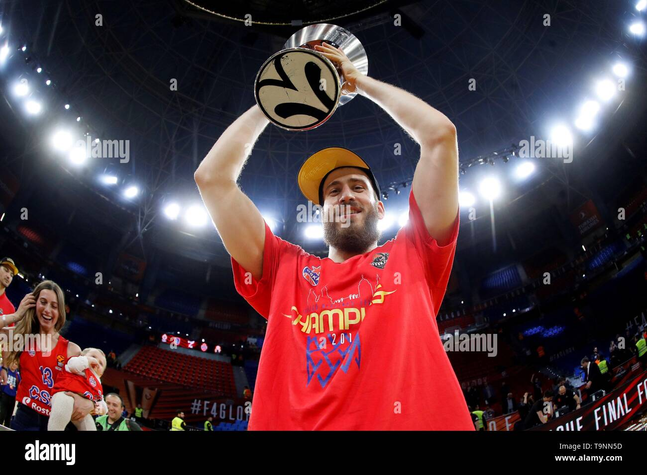 749d76b1b8d CSKA Moscow's Spanish player Sergio Rodriguez holds the trophy after  defeating Anadolu Efes team in the ...