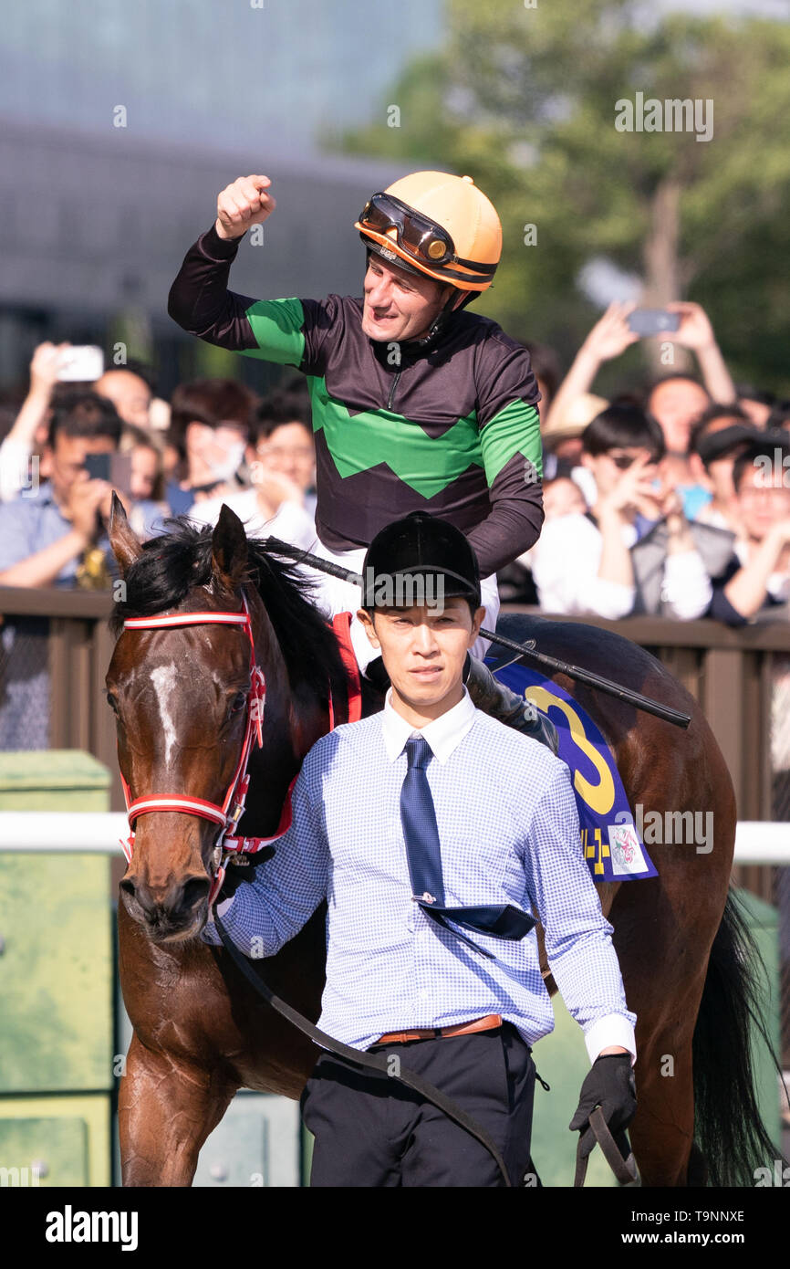 Mirco Demuro riding Loves Only You (owner DMM Dream Club) wins the 80th Japanese Oaks (G1 2400m) with a new race record of 2;28, 08 at Tokyo Racecourse, Tokyo, Japan on 19 May 2019. Credit: Motoo Naka/AFLO/Alamy Live News - Stock Image