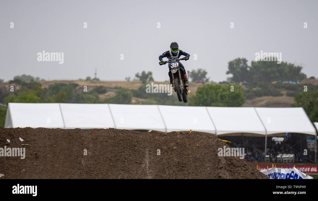 Rancho Cordova, CA U.S. 18th May, 2019. A. : # 39 Colt Nichols gets big air in section 37 during the Lucas Oil Pro 250 Motocross Championship at Hangtown Motocross Classic Rancho Cordova, CA Thurman James/CSM/Alamy Live News - Stock Image
