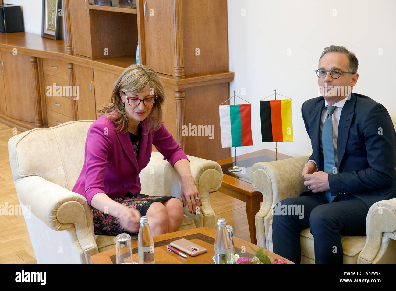 Sofia, Bulgaria. 20th May, 2019. Heiko Maas (SPD), Federal Foreign Minister, meets Ekaterina Sachariewa, Foreign Minister of Bulgaria, for talks. Credit: Michael Fischer/dpa/Alamy Live News - Stock Image