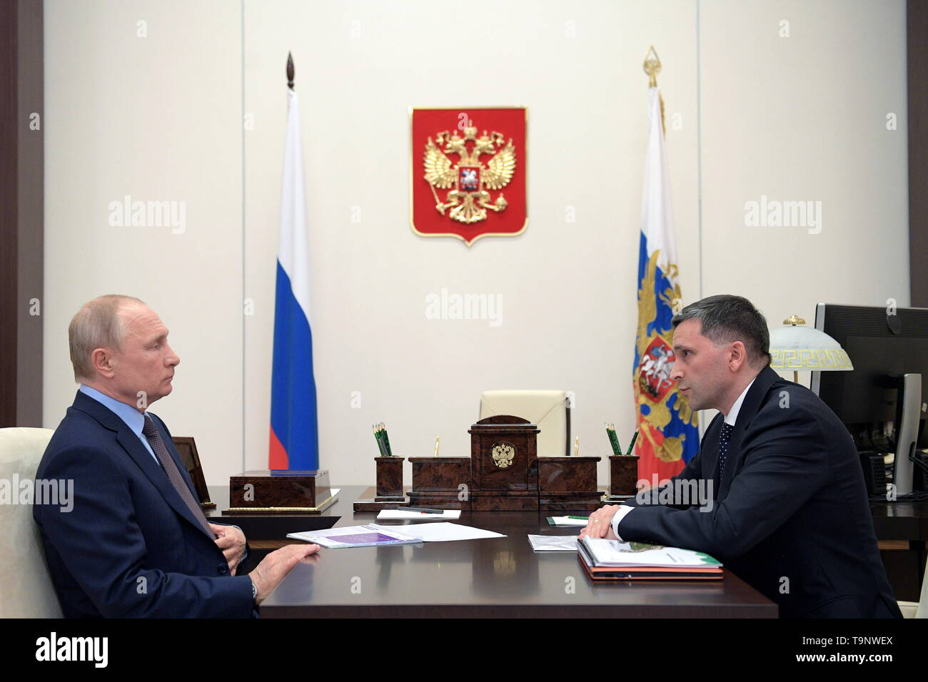 Moscow, Russia. 20th May, 2019. MOSCOW REGION, RUSSIA - MAY 20, 2019: Russia's President Vladimir Putin (L) and Natural Resources and Environment Minister Dmitry Kobylkin during a meeting at Novo-Ogarevo residence. Alexei Druzhinin/Russian Presidential Press and Information Office/TASS Credit: ITAR-TASS News Agency/Alamy Live News Stock Photo