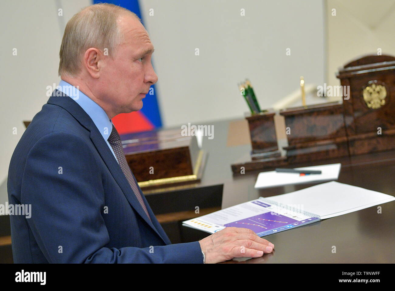 Moscow, Russia. 20th May, 2019. MOSCOW REGION, RUSSIA - MAY 20, 2019: Russia's President Vladimir Putin during a meeting with Natural Resources and Environment Minister Dmitry Kobylkin at Novo-Ogarevo residence. Alexei Druzhinin/Russian Presidential Press and Information Office/TASS Credit: ITAR-TASS News Agency/Alamy Live News - Stock Image