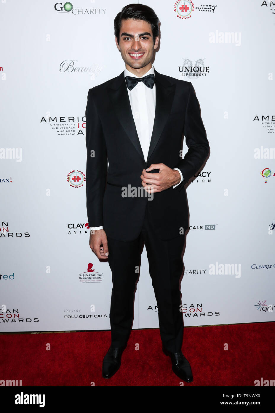 BEVERLY HILLS, LOS ANGELES, CA, USA - MAY 19: Matteo Bocelli arrives at the 2019 American Icon Awards held at the Beverly Wilshire Four Seasons Hotel on May 19, 2019 in Beverly Hills, Los Angeles, California, United States. (Photo by Xavier Collin/Image Press Agency) - Stock Image