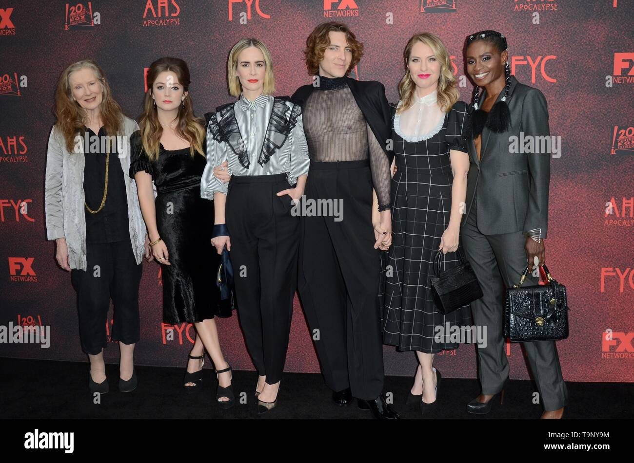 Los Angeles, CA, USA. 18th May, 2019. Frances Conroy, Billie Lourd, Sarah Paulson, Cody Fern, Leslie Grossman, Adina Porter at arrivals for AMERICAN HORROR STORY: APOCALYPSE FYC Event, NeueHouse, Los Angeles, CA May 18, 2019. Credit: Priscilla Grant/Everett Collection/Alamy Live News - Stock Image