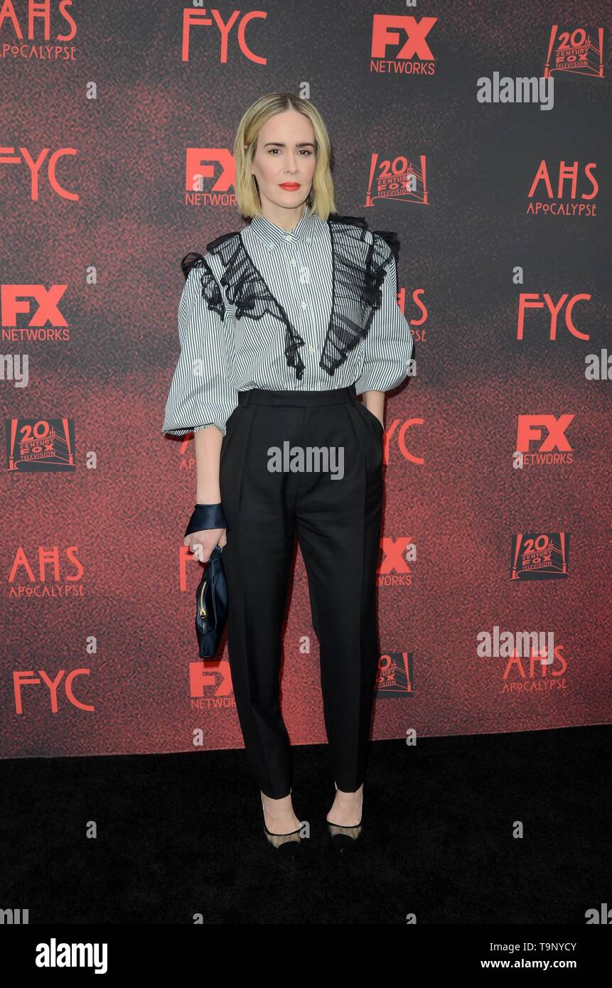 Los Angeles, CA, USA. 18th May, 2019. Sarah Paulson at arrivals for AMERICAN HORROR STORY: APOCALYPSE FYC Event, NeueHouse, Los Angeles, CA May 18, 2019. Credit: Priscilla Grant/Everett Collection/Alamy Live News - Stock Image