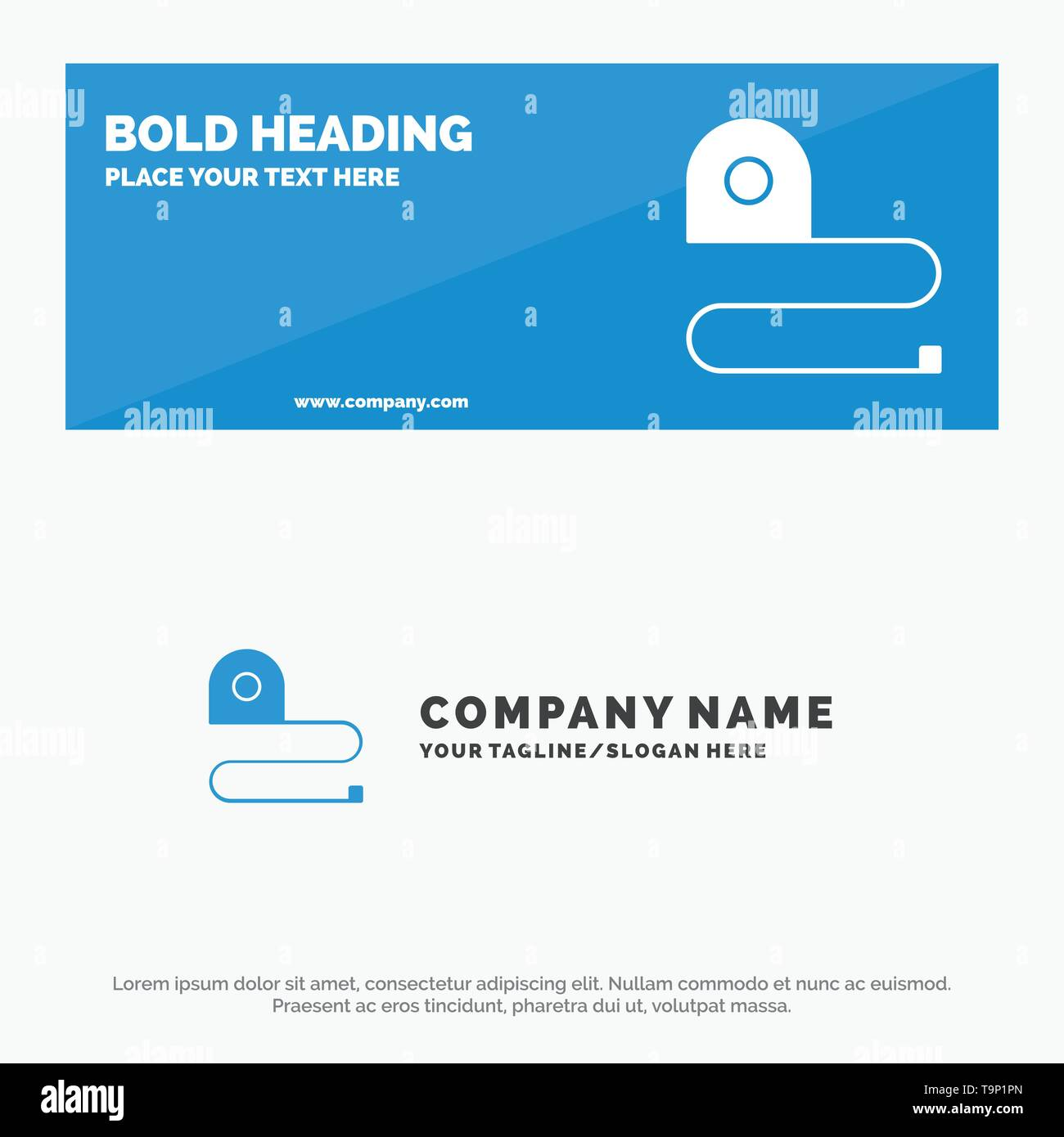 Construction, Measuring, Scale, Tape SOlid Icon Website Banner and Business Logo Template - Stock Image