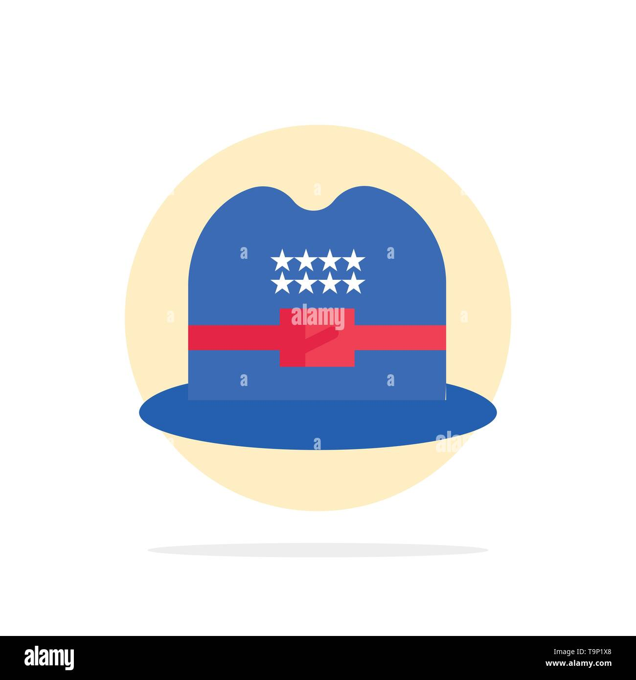 Hat, Cap, American Abstract Circle Background Flat color Icon - Stock Image