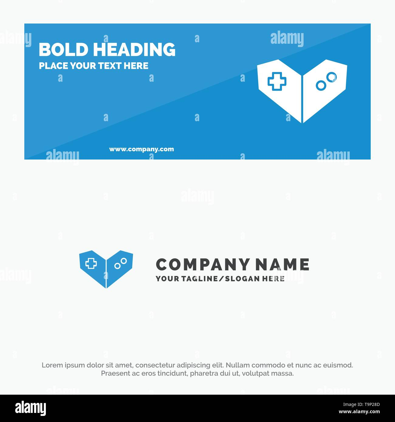 Gamepad, Videogame, PlayStation SOlid Icon Website Banner and Business Logo Template - Stock Image