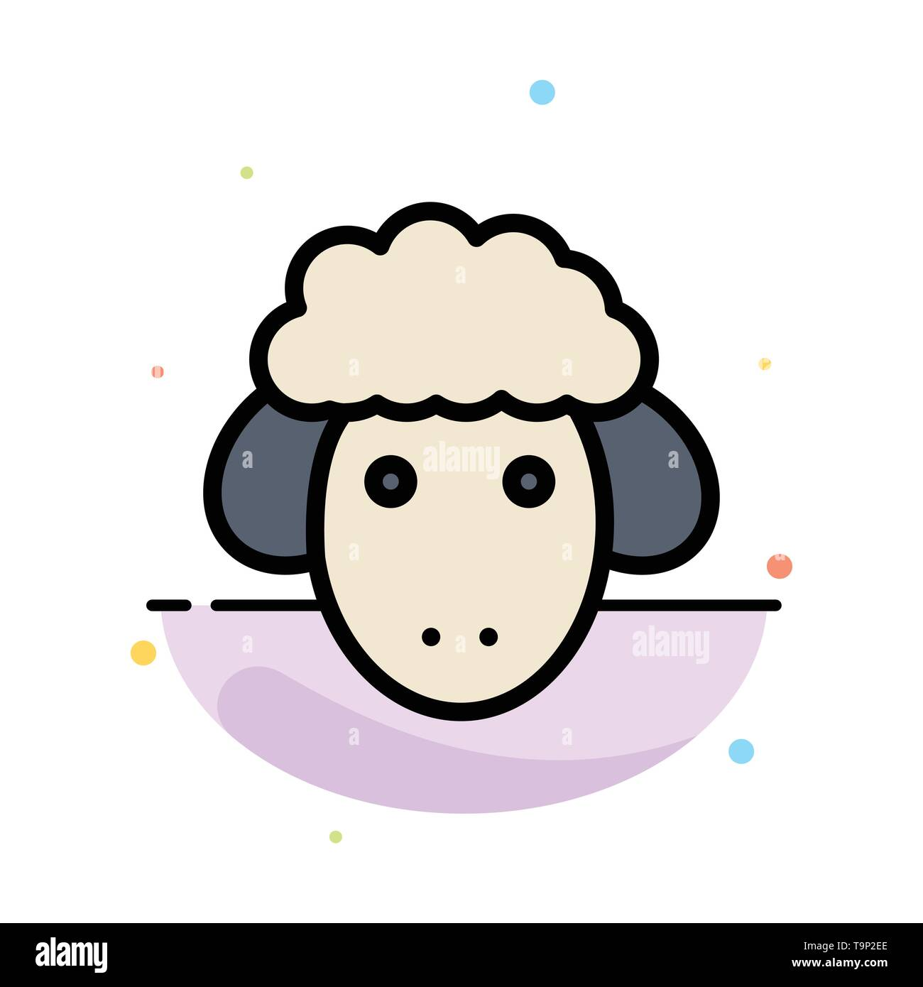 Easter, Lamb, Sheep, Spring Abstract Flat Color Icon Template Stock