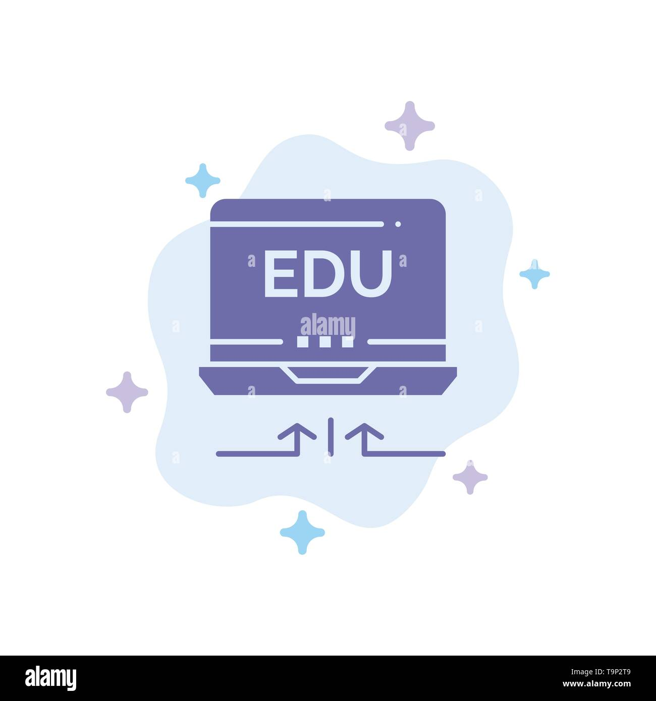 Laptop, Hardware, Arrow, Education Blue Icon on Abstract Cloud Background - Stock Image