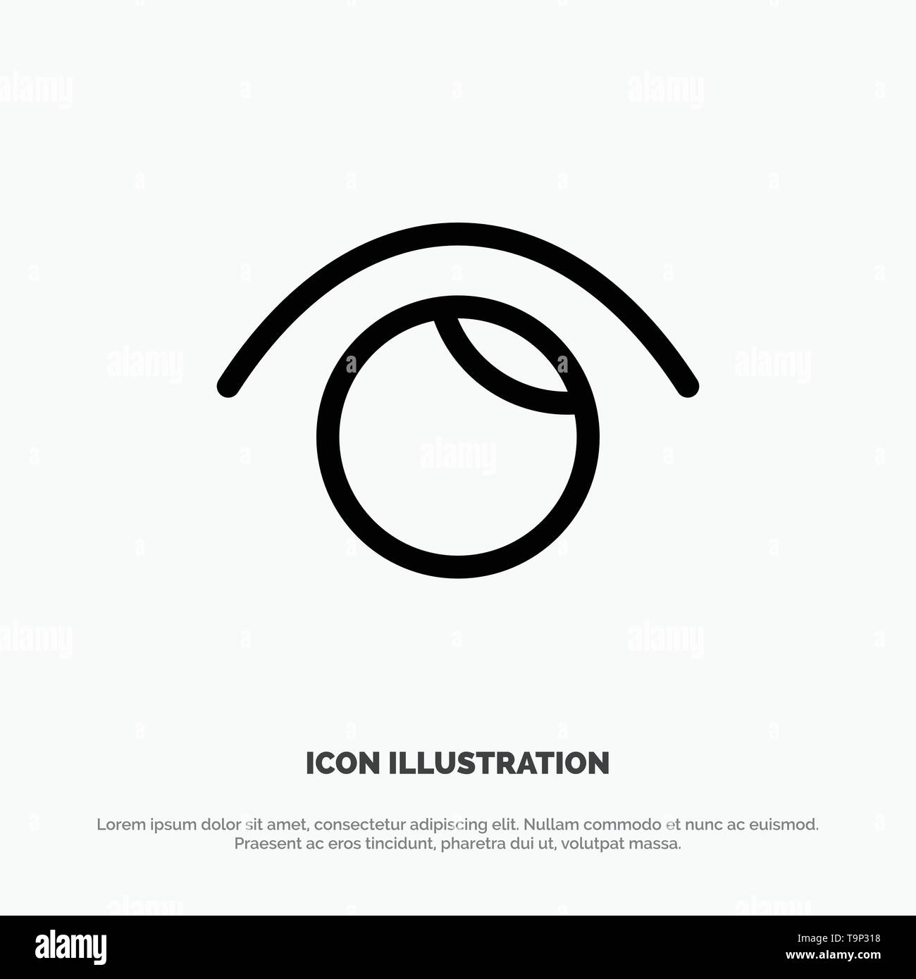 Eye, View, Watch, Twitter Line Icon Vector - Stock Image