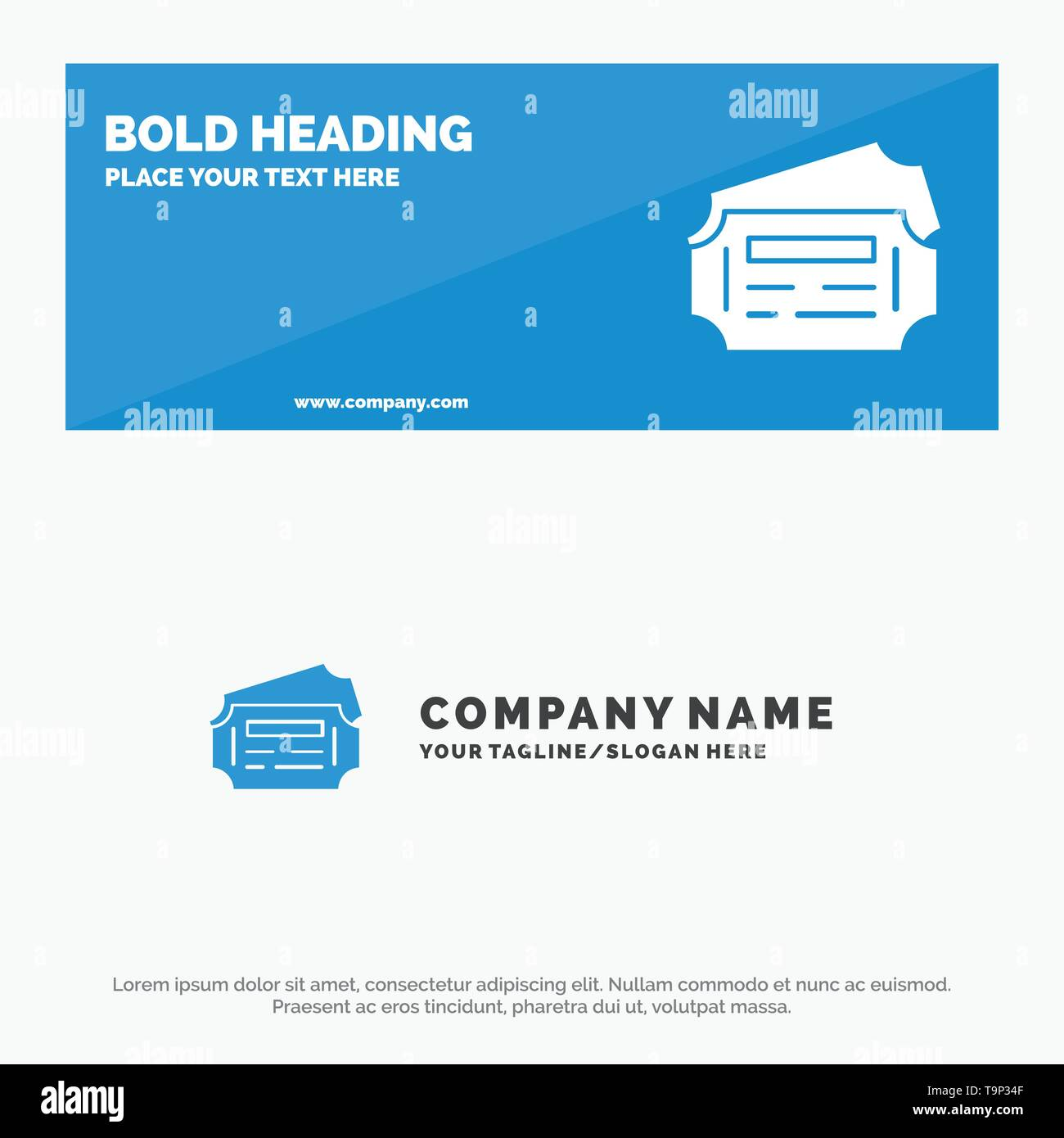 Train, Ticket, Station SOlid Icon Website Banner and Business Logo Template - Stock Image
