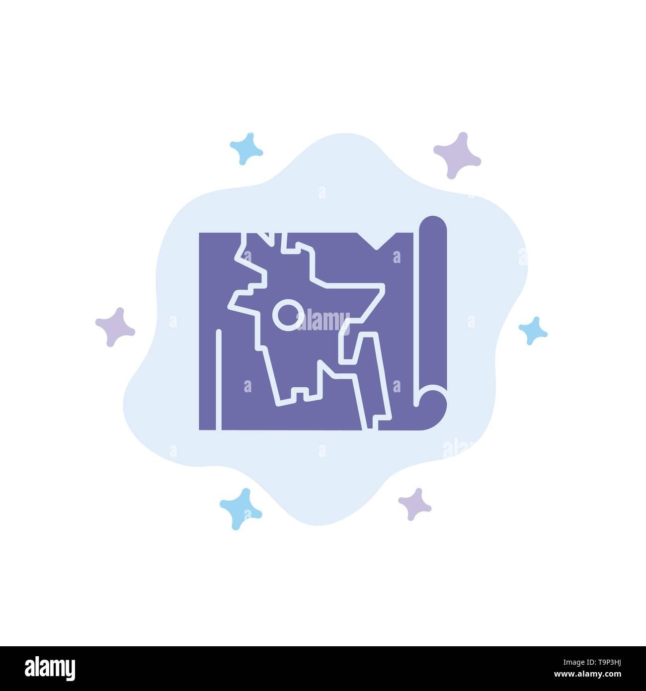Bangladesh, Map, World, Bangla Blue Icon on Abstract Cloud ...
