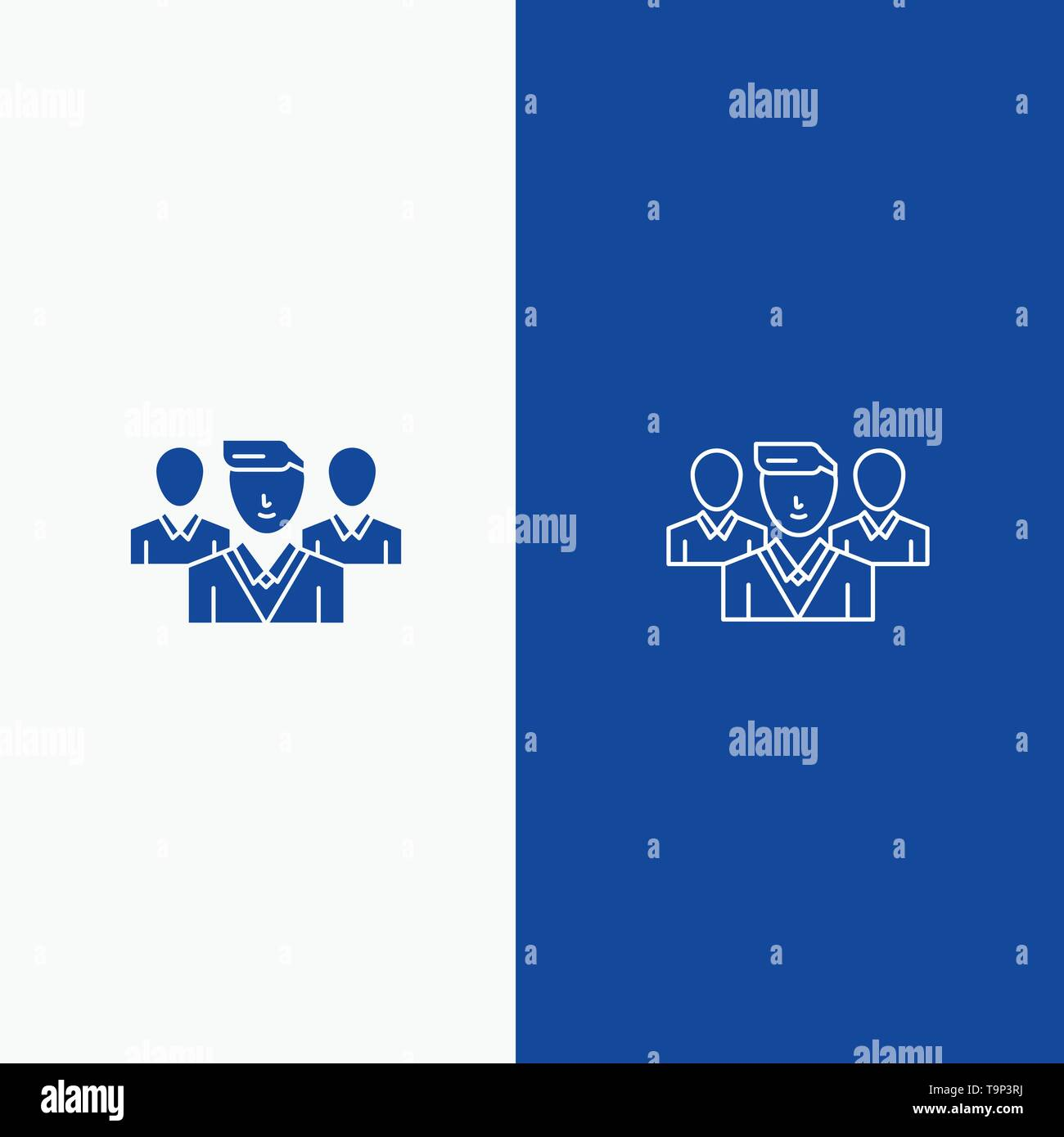 Staff, Security, Friend zone, Gang Line and Glyph Solid icon Blue banner Line and Glyph Solid icon Blue banner - Stock Image