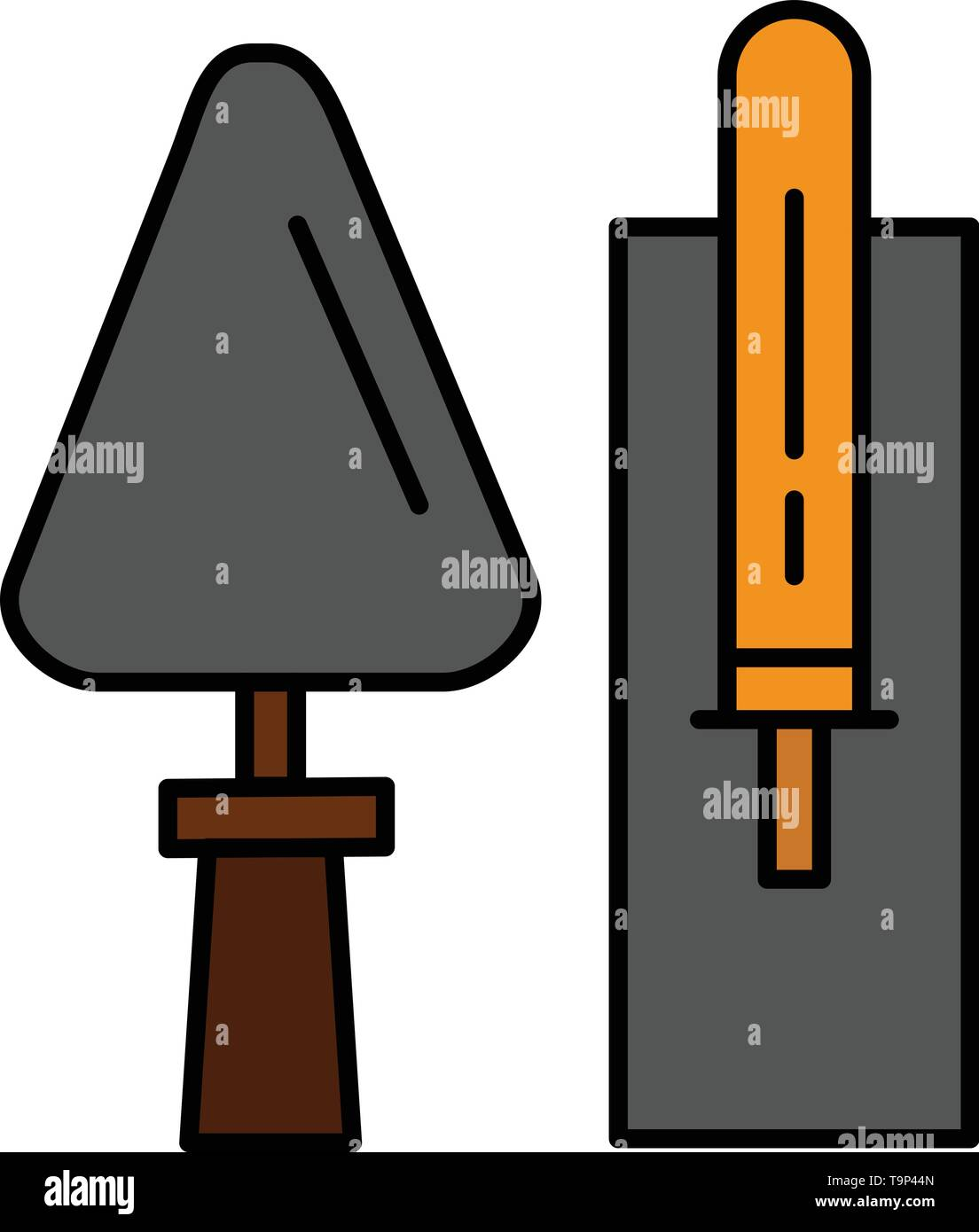 Trowel, Brickwork, Construction, Masonry, Tool  Flat Color Icon. Vector icon banner Template - Stock Image