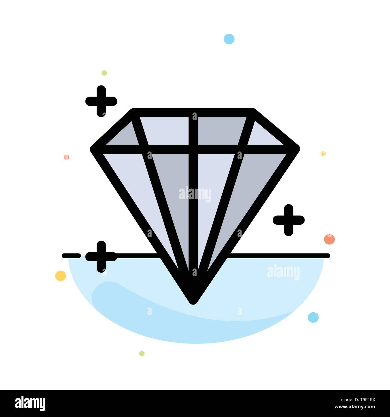 Diamond, Jewel, User Abstract Flat Color Icon Template - Stock Image