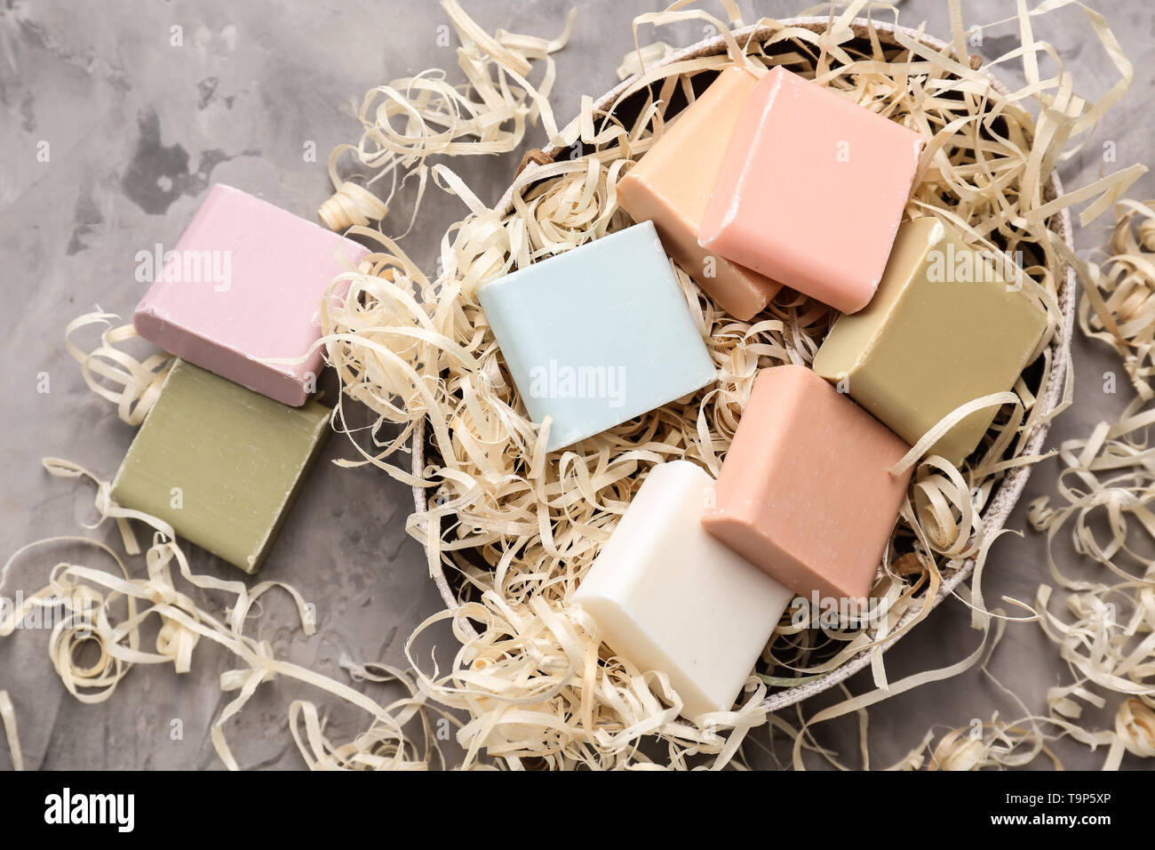 Different soap bars on table Stock Photo