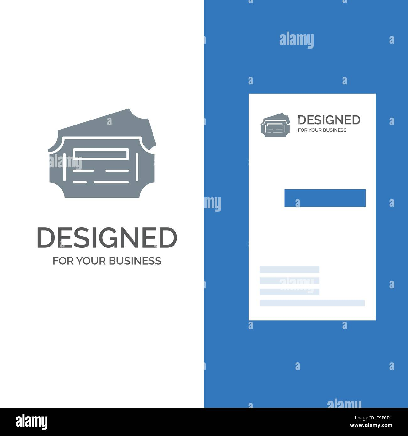 Train, Ticket, Station Grey Logo Design and Business Card Template - Stock Image