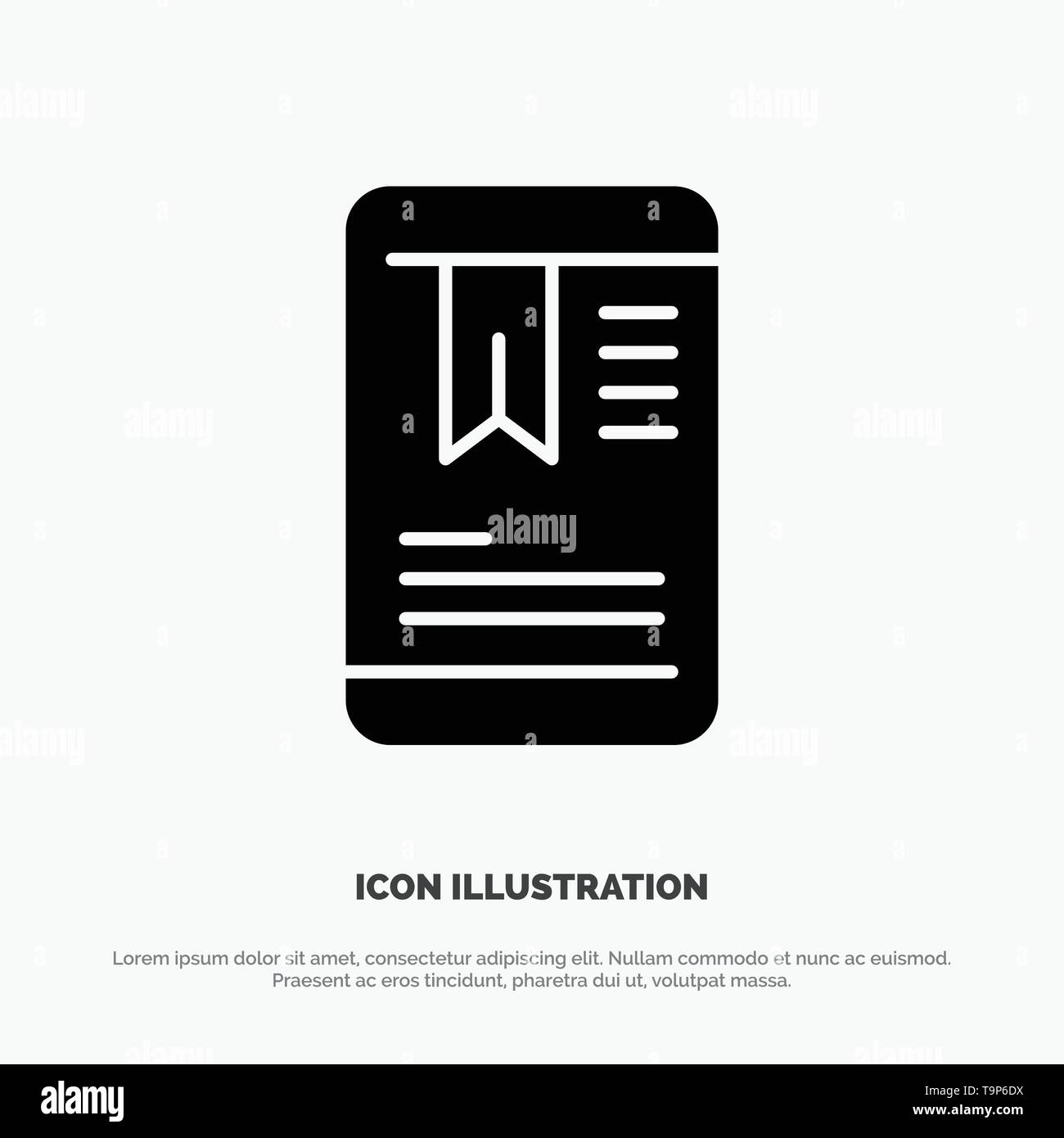 Mobile, Tag, OnEducation solid Glyph Icon vector - Stock Image